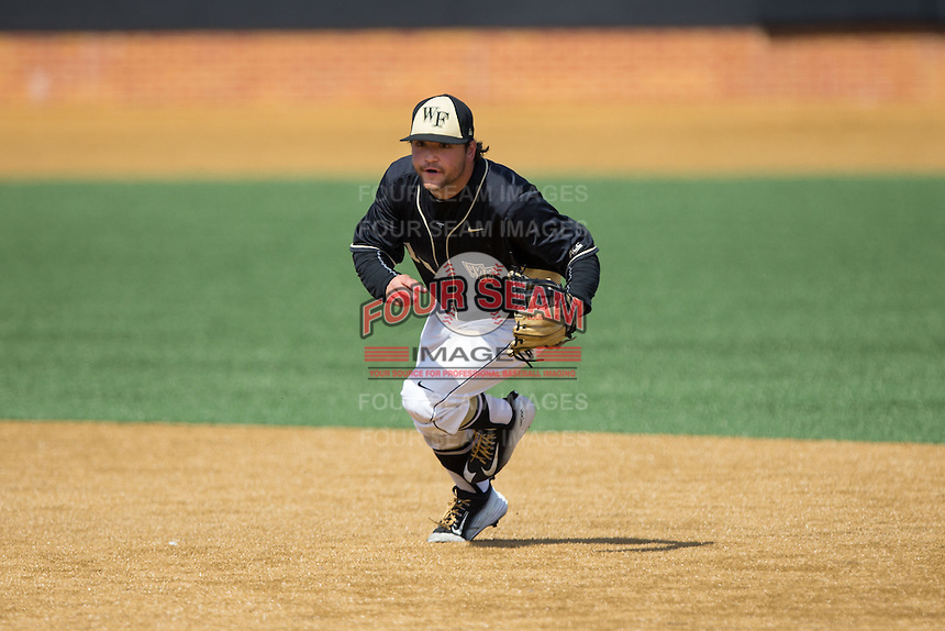 Wake Forest Demon Deacons second baseman Nate Mondou (10) on defense against the Miami Hurricanes at Wake Forest Baseball Park on March 22, 2015 in Winston-Salem, North Carolina.  The Demon Deacons defeated the Hurricanes 10-4.  (Brian Westerholt/Four Seam Images)