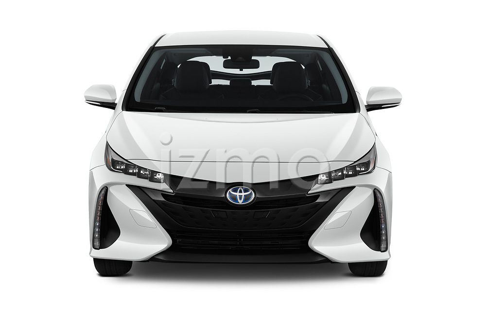 Car photography straight front view of a 2020 Toyota Prius-Prime XLE 5 Door Hatchback