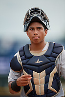 GCL Tigers West catcher Gustavo Figueroa (15) during a game against the GCL Yankees West on August 10, 2018 at Yankee Complex in Tampa, Florida.  GCL Yankees West defeated GCL Tigers West 6-5.  (Mike Janes/Four Seam Images)