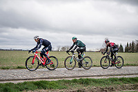 Jasper Stuyven (BEL/Trek-Segafredo) leading the race over the Huisepontweg cobbled section<br /> <br /> 75th Omloop Het Nieuwsblad 2020 (1.UWT)<br /> Gent to Ninove (BEL): 200km<br /> <br /> ©kramon