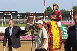 July 18, 2015: Sheer Drama, Joe Bravo up, wins the Grade I Delaware Handicap, one and 1/4 miles for fillies and mares 3 and upward at Delaware Park in Stanton DE.  Trainer is David Fawkes (at left, leading horse); owner is Harold L. Queen. Joan Fairman Kanes/ESW/CSM