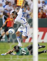 Guatemala forward Transito Montepeque (17) goes against El Salvador goalkeeper Benji Villalobos (18)    The Guatemalan National Team defeated  El Salvador National Team 2-0 in a friendly international at RFK Stadium, Saturday September 7, 2010.