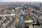 Looking towards central London from Trellick Tower in North Kensington: in the foreground the Grand Union Canal and the Westway.