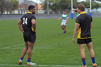 Julian Savea chats to Ruben Love during the Mitre 10 Cup rugby preseason match between Manawatu Evergreens and Wellington Lions at Levin Domain in Levin, New Zealand on Saturday, 5 September 2020. Photo: Dave Lintott / lintottphoto.co.nz