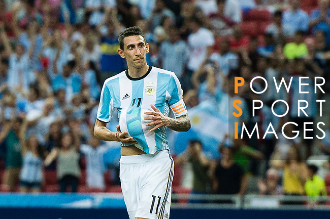 Angel Di Maria of Argentina celebrating his score during the International Test match between Argentina and Singapore at National Stadium on June 13, 2017 in Singapore. Photo by Marcio Rodrigo Machado / Power Sport Images