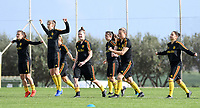 20190226 - LARNACA , CYPRUS :  Belgian players pictured warming up during a Matchday -1 training from The Belgian Red Flames prior to their game against the women team of Slovakia , on Tuesday 26 February 2019 at the Alpha Sports Grounds in Larnaca , Cyprus . This will be the first game in group C for Belgium during the Cyprus Womens Cup 2019 , a prestigious women soccer tournament as a preparation on the European Championship 2021 qualification duels. PHOTO SPORTPIX.BE   DAVID CATRY