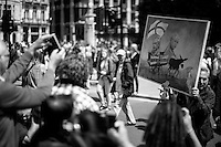 """Kaya Mar (Painter and political caricaturist - For more information about the Artist please click here: http://www.kayamarart.com/ ). <br /> <br /> 02.07.2016 - """"March For Europe - #MarchForEurope"""".<br /> <br /> London, March-July 2016. Reporting the EU Referendum 2016 (Campaign, result and outcomes) observed through the eyes (and the lenses) of an Italian freelance photojournalist (UK and IFJ Press Cards holder) based in the British Capital with no """"press accreditation"""" and no timetable of the main political parties' events in support of the RemaIN Campaign or the Leave the EU Campaign.<br /> On the 23rd of June 2016 the British people voted in the EU Referendum... (Please find the caption on PDF at the beginning of the Reportage).<br /> <br /> For more photos and information about this event please click here: http://lucaneve.photoshelter.com/gallery/02-07-2016-March-For-Europe-MarchForEurope/G0000LxE7Mug.C2M/C0000GPpTqAGd2Gg<br /> <br /> For more information about the result please click here: http://www.bbc.co.uk/news/politics/eu_referendum/results"""