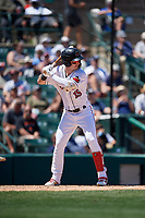Rochester Red Wings Brent Rooker (19) bats during an International League game against the Scranton/Wilkes-Barre RailRiders on June 25, 2019 at Frontier Field in Rochester, New York.  Rochester defeated Scranton 10-9.  (Mike Janes/Four Seam Images)
