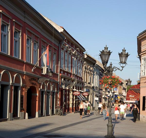 Dunavska Street, a pedestrianized area in the old quarter of Novi Sad, Serbia, Europe