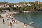 Portbou Spain, local tourists on the beach Province of Girona, Catalonia, Spain. 2016