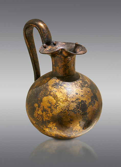 Phrygian bronze trefoil spouted jug from Gordion . Phrygian Collection, 8th century BC - Museum of Anatolian Civilisations Ankara. Turkey.