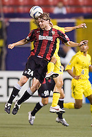 The MetroStars' Eddie Gaven and Frankie Hejduk of the Crew go up for a header. The MetroStars defeated the Columbus Crew  2 - 1 at Giant's Stadium, East Rutherford, NJ, on August 14, 2005.