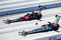 Nov 1, 2020; Las Vegas, Nevada, USA; NHRA top fuel driver Justin Ashley (near) defeats Doug Kalitta during the NHRA Finals at The Strip at Las Vegas Motor Speedway. Mandatory Credit: Mark J. Rebilas-USA TODAY Sports