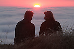 A couple enjoying the sunset on Mount Tam, Mill Valley, CA
