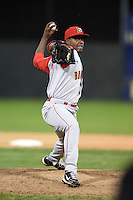 Brooklyn Cyclones pitcher Carlos Valdez (16) delivers a pitch during a game against the Batavia Muckdogs on August 11, 2014 at Dwyer Stadium in Batavia, New York.  Batavia defeated Brooklyn 4-3.  (Mike Janes/Four Seam Images)