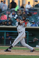 Nick Schulz (25) of the Lake Elsinore Storm bats during a game against the Lancaster JetHawks at The Hanger on May 9, 2015 in Lancaster, California. Lancaster defeated Lake Elsinore, 3-1. (Larry Goren/Four Seam Images)