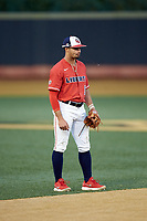 Liberty Flames shortstop Cam Locklear (18) on defense against the Wake Forest Demon Deacons at David F. Couch Ballpark on April 25, 2018 in  Winston-Salem, North Carolina.  The Demon Deacons defeated the Flames 8-7.  (Brian Westerholt/Four Seam Images)