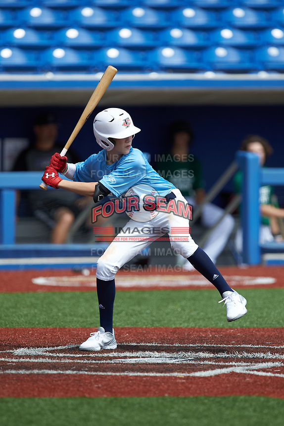 Jackson Harmon (10) of West Forsyth High School in Cumming, GA during the Atlantic Coast Prospect Showcase hosted by Perfect Game at Truist Point on August 23, 2020 in High Point, NC. (Brian Westerholt/Four Seam Images)
