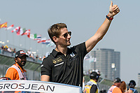 March 17, 2019: Romain Grosjean (FRA) #8 from the Rich Energy Haas F1 Team waves to the crowd during the drivers parade prior to the start of the 2019 Australian Formula One Grand Prix at Albert Park, Melbourne, Australia. Photo Sydney Low