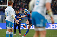 Rugby, Torneo Sei Nazioni: Italia vs Francia. Roma, stadio Olimpico, 15 marzo 2015.<br /> France's Jules Plisson kicks to convert a try during the Six Nations championship rugby match between Italy and France at Rome's Olympic stadium, 15 March 2015.<br /> UPDATE IMAGES PRESS/Riccardo De Luca