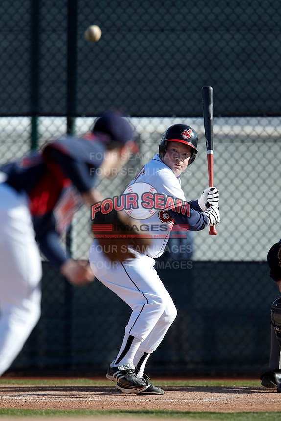 Cleveland Indians Fantasy Camp member at bat during a game at Goodyear Training Complex on January 16, 2012 in Goodyear, Arizona.  (Mike Janes/Four Seam Images)