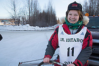 Joan Klejka portrait at the start of the 2016 Junior Iditarod Sled Dog Race on Willow Lake  in Willow, AK February 27, 2016