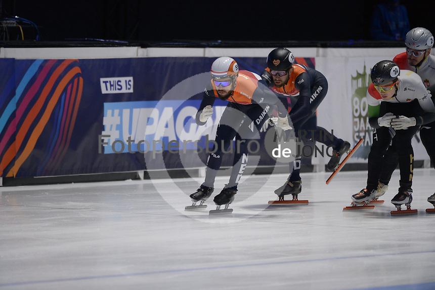 SPEEDSKATING: DORDRECHT: 07-03-2021, ISU World Short Track Speedskating Championships, Final A 5000m Relay, Sjinkie Knegt (NED), Daan Breeuwsma (NED), ©photo Martin de Jong