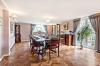 BNPS.co.uk (01202 558833)<br /> Pic: KnightFrank/BNPS<br /> <br /> Pictured: Dining room.<br /> <br /> An impressive family home built in an 'industrial scale' oast house with multiple circular rooms is on the market for £1.6m.<br /> <br /> The property is one half of a massive former six roundel oast house that has been expanded and renovated by the current owners.<br /> <br /> Estate agents Knight Frank say the roundels are far larger than normally seen in most oast houses, which means the property has quirky character while also being a practical family home.<br /> <br /> This six-bedroom house is in the picturesque Kent countryside, but just 1.5 miles from the village of Hadlow and ten minutes' drive from the bigger town of Tonbridge.