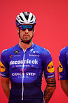 Mattia Cattaneo (ITA) Deceuninck-Quick Step at sign on before the start of Stage 5 of the 2021 UAE Tour running 170km from Fujairah to Jebel Jais, Fujairah, UAE. 25th February 2021.  <br /> Picture: Eoin Clarke   Cyclefile<br /> <br /> All photos usage must carry mandatory copyright credit (© Cyclefile   Eoin Clarke)