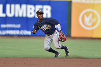 Mississippi Braves second baseman Ozzie Albies (20) reacts to the ball during a game against the Tennessee Smokies at Smokies Stadium on July 23, 2016 in Kodak, Tennessee. The Braves defeated the Smokies 3-0. (Tony Farlow/Four Seam Images)