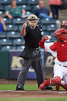 Umpire Mike Cascioppo makes a call during a game between the Frisco RoughRiders and Springfield Cardinals on June 3, 2015 at Hammons Field in Springfield, Missouri.  Springfield defeated Frisco 7-2.  (Mike Janes/Four Seam Images)