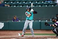 David García (13) of the Llamas de Hickory at bat against the Winston-Salem Rayados at Truist Stadium on July 6, 2021 in Winston-Salem, North Carolina. (Brian Westerholt/Four Seam Images)