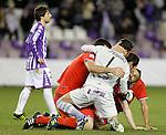 Celta de Vigo's Hugo Mallo, Sergio Alvarez, Cristian Bustos and Oier Sanjurjo celebrate the victory in Spanish 2th Division match in presence of Real Valladolid's Sisi Gonzalez (l).March 3,2012. (ALTERPHOTOS/Acero)