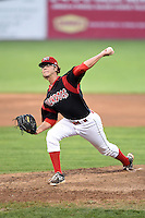 Batavia Muckdogs pitcher Hayden Fox (55) delivers a pitch during a game against the Connecticut Tigers on July 21, 2014 at Dwyer Stadium in Batavia, New York.  Connecticut defeated Batavia 12-3.  (Mike Janes/Four Seam Images)