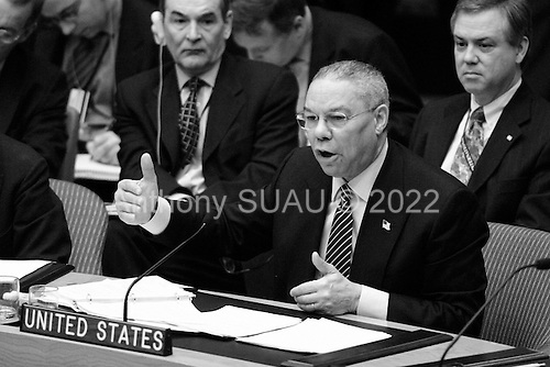 New York, New York.USA.March 7, 2003..US Secretary of State Colin Powell addresses the UN Security Council on the crisis in Iraq.