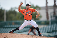 Baltimore Orioles pitcher Colin Woody (84) delivers a pitch during a Florida Instructional League game against the Philadelphia Phillies on October 4, 2018 at Ed Smith Stadium in Sarasota, Florida.  (Mike Janes/Four Seam Images)