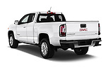 Car pictures of rear three quarter view of a 2019 GMC Canyon 4WD SLE Extended Cab 5 Door Pick Up angular rear