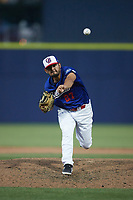Kannapolis Cannon Ballers relief pitcher Dilmer Mejia (27) in action against the Columbia Fireflies at Atrium Health Ballpark on May 20, 2021 in Kannapolis, North Carolina. (Brian Westerholt/Four Seam Images)