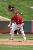 Springfield Cardinals third baseman Paul DeJong (12) during a game against the Northwest Arkansas Naturals on April 27, 2016 at Hammons Field in Springfield, Missouri.  Springfield defeated Northwest Arkansas 8-1.  (Mike Janes/Four Seam Images)