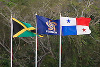 Flags of the participating nations fly over the stadium during the third place game of the CONCACAF Men's Under 17 Championship at Catherine Hall Stadium in Montego Bay, Jamaica. Panama defeated Jamaica, 1-0.