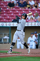 Wisconsin Timber Rattlers Carlos Rodriguez (3) bats during a game against the Cedar Rapids Kernels on August 17, 2021 at Perfect Game Field in Cedar Rapids, Iowa.  (Mike Janes/Four Seam Images)