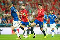 Spain's Sergio Ramos (c-l) and Alvaro Morata (c-r) and Italy's Leonardo Bonucci (l) and Lorenzo Insigne during FIFA World Cup 2018 Qualifying Round match. September 2,2017.(ALTERPHOTOS/Acero)