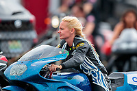 Aug 31, 2019; Clermont, IN, USA; NHRA pro stock motorcycle rider Andie Rawlings during qualifying for the US Nationals at Lucas Oil Raceway. Mandatory Credit: Mark J. Rebilas-USA TODAY Sports