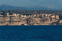 Town of Bonifacio known for its lively marina and medieval clifftop citadel, Corsica, France