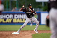 Charlotte Knights shortstop Alcides Escobar (2) throws to first base during an International League game against the Syracuse Mets on June 11, 2019 at NBT Bank Stadium in Syracuse, New York.  Syracuse defeated Charlotte 15-8.  (Mike Janes/Four Seam Images)