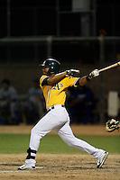 Jonesy Zarraga #3 of the AZL Athletics bats against the AZL Dodgers at Phoenix Municipal Stadium on July 10, 2013 in Phoenix, Arizona. AZL Athletics defeated the AZL Dodgers, 7-1. (Larry Goren/Four Seam Images)