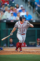 Syracuse Chiefs center fielder Andrew Stevenson (2) at bat during a game against the Buffalo Bisons on July 3, 2017 at Coca-Cola Field in Buffalo, New York.  Buffalo defeated Syracuse 6-2.  (Mike Janes/Four Seam Images)