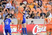Houston, TX - Saturday July 22, 2017: Carli Lloyd and Morgan Andrews during a regular season National Women's Soccer League (NWSL) match between the Houston Dash and the Boston Breakers at BBVA Compass Stadium.