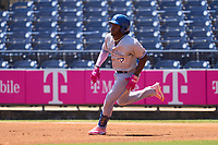 Dunedin Blue Jays Miguel Hiraldo (5) rounds first base after hitting a double during a game against the Tampa Tarpons on May 9, 2021 at George M. Steinbrenner Field in Tampa, Florida.  (Mike Janes/Four Seam Images)