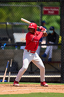 Philadelphia Phillies Jadiel Sanchez (53) bats during an Extended Spring Training game against the Toronto Blue Jays on June 12, 2021 at the Carpenter Complex in Clearwater, Florida. (Mike Janes/Four Seam Images)